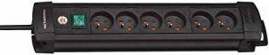 Brennenstuhl Prolongateur multiprise avec interrupteur marche-arrêt, bloc 6 prises avec câble H05VV-F 3G1,5 de 3 m de long, noir, Quantité : 1 de la marque BRENNENSTUHL image 0 produit