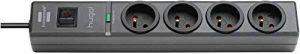 Brennenstuhl Prolongateur multiprise hugo! avec parasurtenseur 19500 A, bloc de 4 prises avec câble H05VV-F 3G1,5 de 2 m de long, anthracite, Quantité : 1 de la marque Brennenstuhl image 0 produit