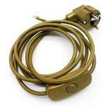Câble de raccordement avec prise et interrupteur Or 2m Câble d'alimentation Câble d'alimentation avec interrupteur intermédiaire et angle Prise 3x 0,75mm² 250V SW Longueur 2000mm de la marque Christoph Palme Leuchten image 2 produit