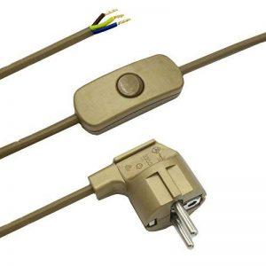 Câble de raccordement avec prise et interrupteur Or 2m Câble d'alimentation Câble d'alimentation avec interrupteur intermédiaire et angle Prise 3x 0,75mm² 250V SW Longueur 2000mm de la marque Christoph Palme Leuchten image 0 produit