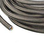 Câble Electrique Textile, Elfeland 5M 3-Core 3x0.75mm² Fil Tressé Vintage Edison avec Conducteur de Terre Câble Tissu DIY Créatif pour Appareils Electriques et Accessoires de Eclairage-Gris Cuivre de la marque Elfeland image 3 produit