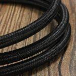 Câble Electrique Textile, Elfeland 5M 3-Core 3x0.75mm² Fil Tressé Vintage Edison avec Conducteur de Terre Câble Tissu DIY Créatif pour Appareils Electriques et Accessoires de Eclairage-Noir de la marque Elfeland image 1 produit