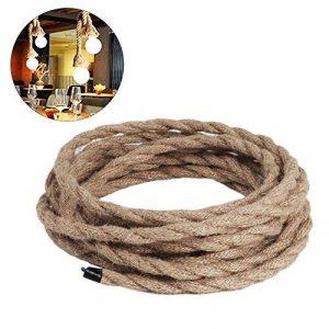 Câble électrique 5m, 3 fils, recouvert de corde de lin torsadée style rétro, pour suspension de lampe, éclairage industriel de la marque FAVOLOOK image 0 produit