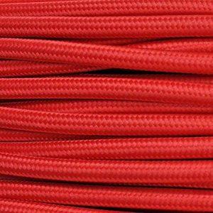 Câble électrique H03VV-F rond, de style vintage, gainé de tissu rouge, section 2x 0,75mm - Pour lustres, lampes Produit fabriqué en Italie. de la marque MeToo Design image 0 produit