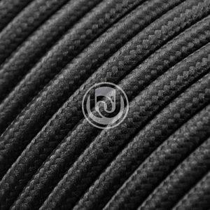 Câble électrique pour éclairage rond recouvert de tissu effet satiné uni noir (avec terre) de la marque BraiDesign image 0 produit