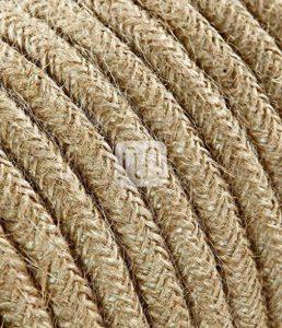 Câble électrique revêtu de tissu ronde coloré tricot Ecru Canvas jute 2 x 0,75 pour Lampadaires lampes-abat jour design. Made in Italy ! de la marque Merlotti image 0 produit