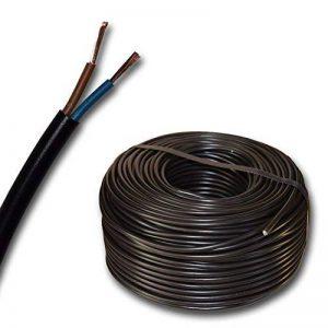 Câble pour LED - H03VV-F - 2 x 0,75 mm² - Rond - Plastique - Noir - 10, 15, 20, 25, 30, 35, 40, 45, 50, 55, 60 m et ainsi de suite jusqu'à 250 m par tranche de 5 m - Au choix de la marque EBROM image 0 produit