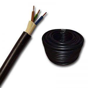 Câble souterrain NYY-J avec 3 brins de 2,5mm² - Vendu au mètre. Pour circuit de courant fort - Ligne de terre enPVC noir - Coupe par pas de 1 mètre - Exemple: 20 m, 25 m, 35 m, 50 m, etc de la marque EBROM image 0 produit