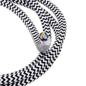 Câble tissu noir/blanc 1,20m Câble textile de 3fils 3x 0,75mm² zigzags recouvertes Lampe Câble Câble de la marque Christoph Palme Leuchten image 0 produit