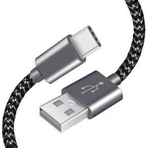 Câble USB Type-C AOSTA [Lot de 3/2M] Cable USB C Data Chargeur Type C en Nylon avec connecteur en aluminium vers USB 3.0 pour Samsung Galaxy s8,Nouveau Macbook Pro, ChromeBook Pixel, Nexus 5X/6P, Oneplus 2/3, HTC M10, Meizu Pro 5/6 et Plus (Gris&Noir) de image 0 produit