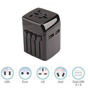 CFZC International prise d'alimentation avec double ports de recharge USB et prise secteur universelle, sécurité Fusionné pour Voyager en Asie/Royaume-Uni/États-Unis/Europe/Australie de la marque CFZC image 0 produit