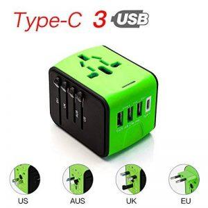 COCOCITY Chargeur Adaptateur de Voyage avec 3 USB et 1 Type C Interface Adaptateur Universel Pris de Courant pour Royaume-Uni États-Unis Australie Utilisé dans plus de 150 pays Adaptateur Chargeur, Vert de la marque COCOCITY image 0 produit