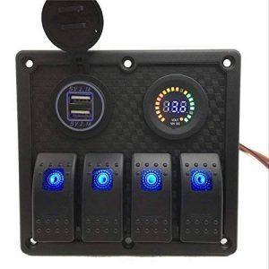 Commutateur de Panneau Étanche 12V Avec Double Interrupteur de Panneau de Chargeur USB, Commutateur de Combinaison de Panneau de 4 Positions, Adapté Pour Les Navires de Plaisance Automobiles (Emballage Blister) de la marque Seasaleshop image 0 produit