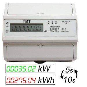 Compteur d'énergie consommation (kWh) & Puissance (kW) Compteur Courant Fort entre Compteur 380/400V Digital DIN de Chapeau Rail zs4de FBA de la marque OCS.tec image 0 produit