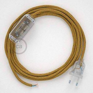 Cordon pour lampe, câble RL05 Effet Soie Paillettes Doré 1,80 m. Choisissez la couleur de la fiche et de l'interrupteur! - Transparent de la marque Creative-Cables image 0 produit