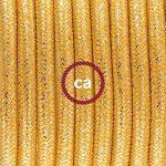 Cordon pour lampe, câble RL05 Effet Soie Paillettes Doré 1,80 m. Choisissez la couleur de la fiche et de l'interrupteur! - Transparent de la marque Creative-Cables image 2 produit