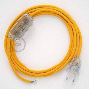 Cordon pour lampe, câble RM10 Effet Soie Jaune 1,80 m. Choisissez la couleur de la fiche et de l'interrupteur! - Transparent de la marque Creative-Cables image 0 produit