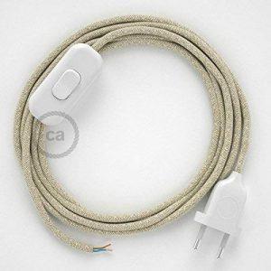 Cordon pour lampe, câble RN01 Lin Naturel Neutre 1,80 m. Choisissez la couleur de la fiche et de l'interrupteur! - Blanc de la marque Creative-Cables image 0 produit