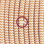 Cordon pour lampe, câble RZ15 Effet Soie ZigZag Blanc-Orange 1,80 m. Choisissez la couleur de la fiche et de l'interrupteur! - Transparent de la marque Creative-Cables image 2 produit