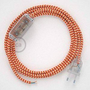 Cordon pour lampe, câble RZ15 Effet Soie ZigZag Blanc-Orange 1,80 m. Choisissez la couleur de la fiche et de l'interrupteur! - Transparent de la marque Creative-Cables image 0 produit