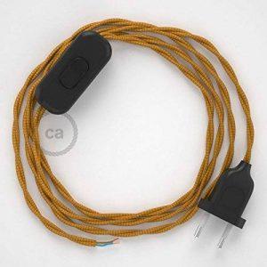 Cordon pour lampe, câble TM05 Effet Soie Doré 1,80 m. Choisissez la couleur de la fiche et de l'interrupteur! - Noir de la marque Creative-Cables image 0 produit