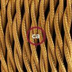Cordon pour lampe, câble TM05 Effet Soie Doré 1,80 m. Choisissez la couleur de la fiche et de l'interrupteur! - Noir de la marque Creative-Cables image 2 produit