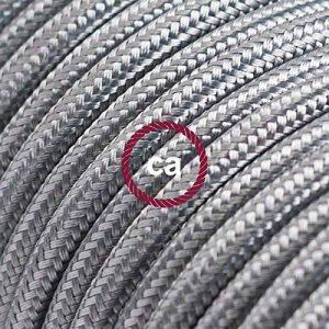 Creative-Cables Fil Électrique Rond Gaine De Tissu De Couleur Effet Soie Tissu Uni Argent RM02-10 mètres, 2x0.75 de la marque Creative-Cables image 0 produit