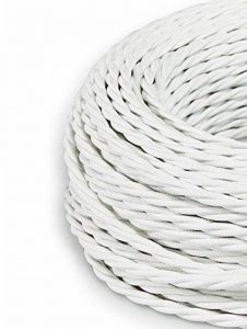 Creative-Cables - Fil Électrique Torsadé Gaine De Tissu De Couleur – Blanc - 10 Metri, 2 Cavi de la marque image 0 produit