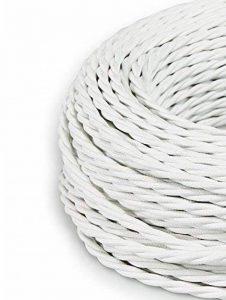 Creative-Cables - Fil Électrique Torsadé Gaine De Tissu De Couleur – Blanc - 5 Metri, 3 Cavi de la marque image 0 produit