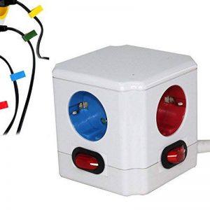 Cube Multiprise Couleur - Interrupteur pour Chaque Sortie - Stickers - Normes NF de la marque Fishtec image 0 produit