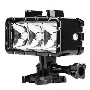 D & F étanche Plongée LED lumière Variateur d'intensité pour Lampe Torche intégrée 1200 mAh Batterie Rechargeable étanche 40 m pour GoPro Hero 6/5/4/3+/3 SJCAM, Yi Caméra d'action et d'autres de la marque D&F image 0 produit