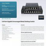 D-Link Switch 5 ports Gigabit metallique 10/100/1000mbps - Idéal partage de connexion et mise en réseau Small Office Home Office (DGS-105) de la marque D-link image 3 produit