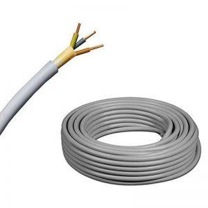 De Câble d'installation NYM-J 3x 1,5mm²–plastique Installation Câble–10m/10m/10mètres–PVC–Gris de la marque EBROM image 0 produit