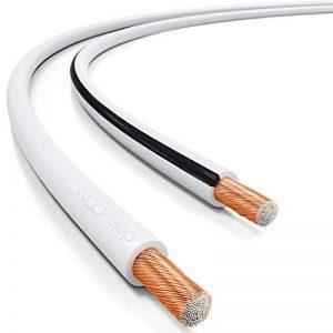 deleyCON 100m Cable pour Haut-Parleur 2X 1,5mm² - CCA Aluminium Revêtu de Cuivre Brins 2x48x0,20mm Marque de Polarité - Blanc de la marque deleyCON image 0 produit