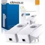 Devolo 9377 dLAN 1200+, kit de démarrage CPL (1200 Mbit/s avec Prise Gigogne, 2x Adaptateurs, 1 x Port Gigabit Ethernet, Prise Electrique Intégrée, Boiters CPL, Courant Porteur) Blanc de la marque Devolo image 3 produit