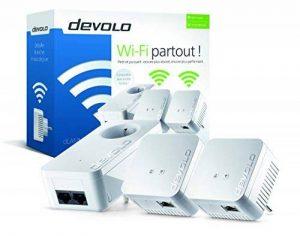 Devolo 9639 dLAN 550 WiFi Kit réseau CPL (connexion Internet 500 Mbit/s via la prise de courant, 300 Mbit/s via le réseau WiFi, 1 port Ethernet, 3 adaptateurs CPL, amplificateur WiFi, WiFi Move) blanc de la marque Devolo image 0 produit