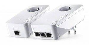 Devolo 9908 dLAN 1200 Triple+ kit de démarrage CPL (Internet à 1200 Mbps via la prise électrique, 3 ports Gigabit Ethernet, 2 adaptateurs CPL, prise de courant intégrée, adaptateur réseau) blanc de la marque Devolo image 0 produit