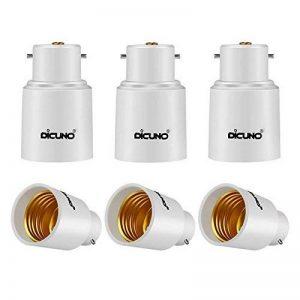DiCUNO B22 vers E27 Adaptateur de douille de 6 pièces Adaptateur Convertisseur de douille de base de lampe de haute qualité pour ampoules LED et ampoules incandescentes et ampoules fluocompactes de la marque DiCUNO image 0 produit