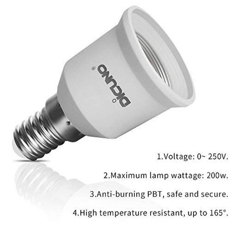 DiCUNO E27 vers E14 Adaptateur de douille de 10 pi/èces Adaptateur Convertisseur de douille de base de lampe de haute qualit/é pour ampoules LED et ampoules /à incandescence et ampoules fluocompactes