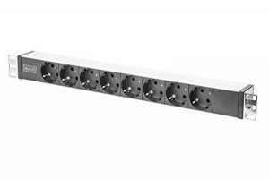 """Digitus Barre multiprise en aluminium avec 8 prises et support métallique, 16 A, 4000 W Noir 48,3 cm/19"""" de la marque Digitus image 0 produit"""