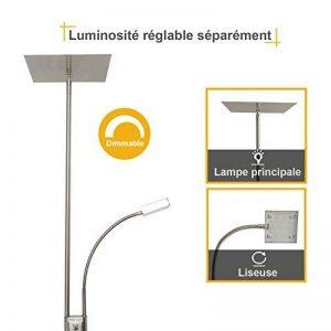 Diolumia - Lampadaire LED Carlo Nickel Carré avec Liseuse - 180cm de haut - Intensité variable - 18W+5W - 1650LM+400LM - Blanc chaud 3000K - 2 Interrupteurs Individuels - Lumière orientable et réglable de la marque Diolumia image 0 produit
