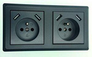 Double prise Schuko (type E) avec 2 prises de charge USB (max. 2800mA Anthracite, style élégant, convient pour 2 prises murales de la marque GHX image 0 produit