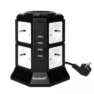 DoubleYI Tour Multiprise Parasurtenseur Parafoudre 8 Prises avec 4 USB 4,5A Ports - Cordon de 2m - Noir (Protection jusqu'à 1000 joules) de la marque DoubleYI image 0 produit