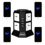 DoubleYI Tour Multiprise Parasurtenseur Parafoudre 8 Prises avec 4 USB 4,5A Ports - Cordon de 2m - Noir (Protection jusqu'à 1000 joules) de la marque DoubleYI image 3 produit