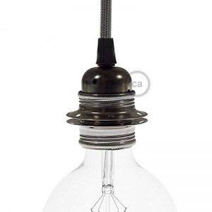 Douille en métal perle noire, culot ampoule E27, 2 bagues de la marque Creative-Cables image 0 produit