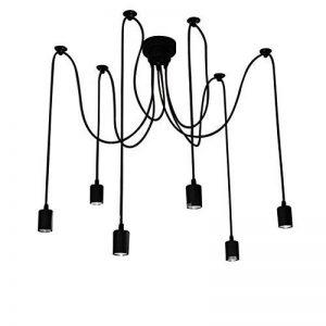 Douille Rétro abat-jour Suspensions Vintage ajustable Rétro Lustre plafond Lampe(E27) Dining Hall Chambre Hôtel 6 Bras (Ampoule NON INCLUS) de la marque ChicDécoré image 0 produit