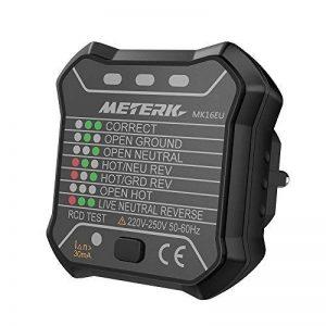 Détecteur de prise de courant Meterk Testeur de prise électrique RCD Détecteur de Circuit Détecteur de Polarité pour le Test de Polarité des Fils de phase, de Zéro et de Terre de la marque Meterk image 0 produit