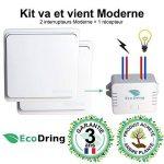 EcoDring ✮ Kit va et Vient Moderne : 2 Interrupteurs sans Fil sans Pile + 1 récepteur 1000W ✮ Garantie 3 Ans ✮ Blanc RX2TX de la marque EcoDring image 1 produit