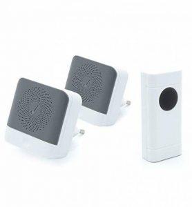 Ecoye Sonnette Sans Fil IP44 Etanche 2 Récepteurs & 1 émetteur de Boutons Poussoirs Kit de Carillon Avec Voyant LED 52 Mélodies 4 Niveaux de Volume 300m de la marque Ecoye image 0 produit