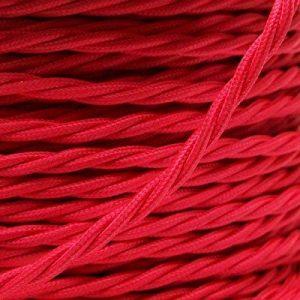 Edison vintage 0,75mm 10metres 2Core Noir–Marron–Doré–Rouge–Noir et Blanc–Anique tressée torsadée Tissu Soie Cordon de fil de câble flexible de lampe lumière UK Stock, rouge de la marque LEDSONE image 0 produit
